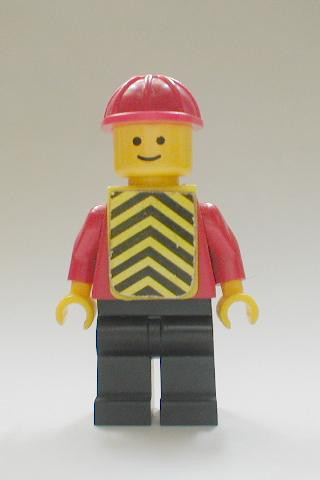 Plain Red Torso with Red Arms, Black Legs, Red Construction Helmet, Yellow Chevron Vest