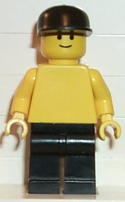 Plain Yellow Torso with Yellow Arms, Black Legs, Black Cap