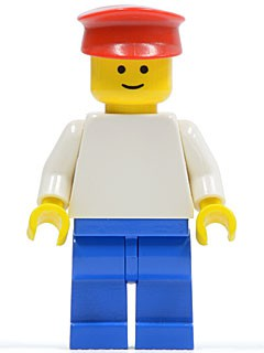 Plain White Torso with White Arms, Blue Legs, Red Hat