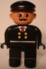 Duplo Figure, Male, Black Legs, Black Top with 4 Yellow Buttons and Red Tie, Black Hat, Curly Moustache (Train Engineer)