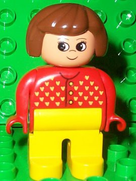Duplo Figure, Female, Yellow Legs, Red Sweater with Yellow V Stitching, Brown Hair, Turned Up Nose