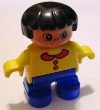 Duplo Figure, Child Type 2 Girl, Blue Legs, Yellow Top with Collar and 2 Buttons, Black Hair