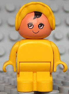 Duplo Figure, Child Type 1 Baby, Yellow Legs, Yellow Body, Yellow Bonnet