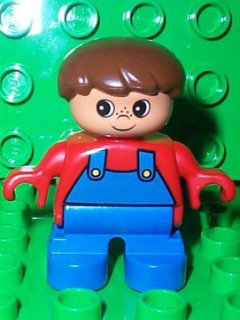 Duplo Figure, Child Type 2 Boy, Blue Legs, Red Top with Blue Overalls, Brown Hair