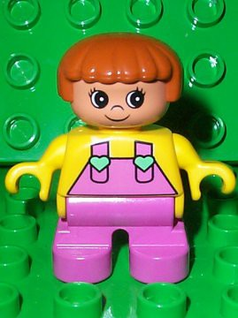 Duplo Figure, Child Type 2 Girl, Dark Pink Legs, Yellow Top with Dark Pink Overalls and Hearts on Straps