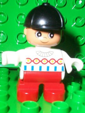 Duplo Figure, Child Type 2 Girl, Red Legs, White Decorated Top, Black Riding Hat