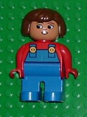 Duplo Figure, Female, Blue Legs, Red Top with Blue Overalls, Brown Hair, Turned Down Nose