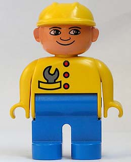 Duplo Figure, Male, Blue Legs, Yellow Top with Wrench in Pocket, Construction Hat Yellow