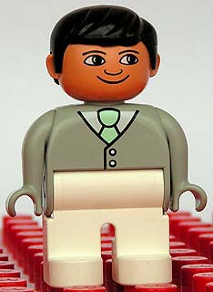 Duplo Figure, Male, White Legs, Light Gray Top with White Shirt and Light Green Tie, Black Hair