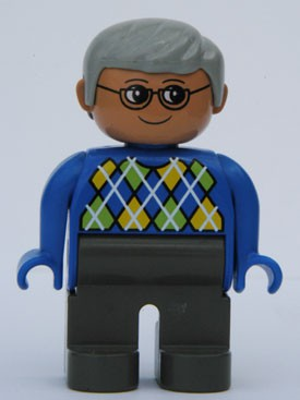 Duplo Figure, Male, Dark Gray Legs, Blue Argyle Sweater, Gray Hair, Glasses