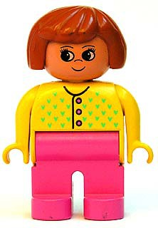 Duplo Figure, Female, Dark Pink Legs, Yellow Sweater with 3 Buttons and V Stitching, Dark Orange Hair