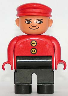 Duplo Figure, Male, Black Legs, Red Top with 2 Yellow Buttons, Red Cap