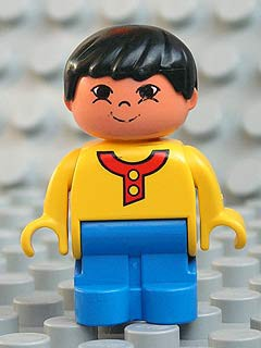 Duplo Figure, Child Type 1 Boy, Blue Legs, Yellow Top with 2 Buttons, Black Hair, Asian Eyes