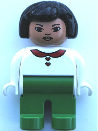 Duplo Figure, Female, Green Legs, White Blouse with Red Heart Buttons & Collar, Black Hair, Asian Eyes, Lips
