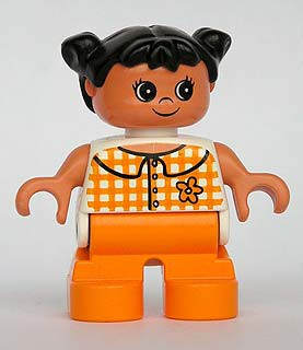 Duplo Figure, Child Type 2 Girl, Orange Legs, Checkered Blouse, Black Hair Pigtails