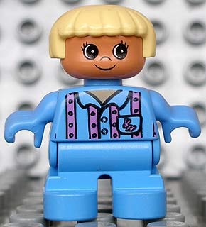 Duplo Figure, Child Type 2 Girl, Medium Blue Legs, Medium Blue Top with Pink Stripes and Bunny Logo, Light Yellow Hair