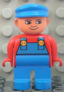 Duplo Figure, Male, Blue Legs, Red Top with Blue Overalls, Blue Cap, Turned Down Nose