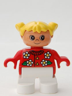 Duplo Figure, Child Type 2 Girl, White Legs, Red Top with Flowers Pattern, Collar And 2 Buttons, Yellow Hair Pigtails