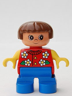 Duplo Figure, Child Type 2 Girl, Blue Legs, Red Torso With Flowers Pattern, Collar And 2 Buttons, Yellow Arms, Brown Hair