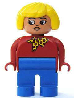 Duplo Figure, Female, Blue Legs, Red Top with Yellow and Red Polka Dot Scarf, Yellow Hair, Turned Down Nose