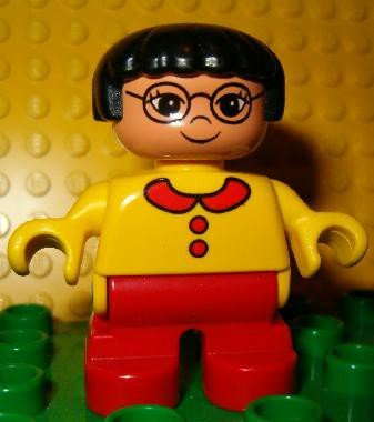 Duplo Figure, Child Type 2 Girl, Red Legs, Yellow Sweater, Black Hair, Glasses