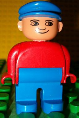 Duplo Figure, Male, Blue Legs, Red Top, Blue Cap