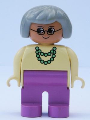 Duplo Figure, Female, Dark Pink Legs, Yellow Blouse with Green Necklace, Gray Hair