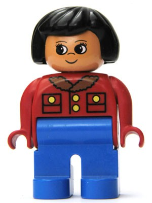 Duplo Figure, Female, Blue Legs, Red Jacket with Gold Buttons, Black Hair