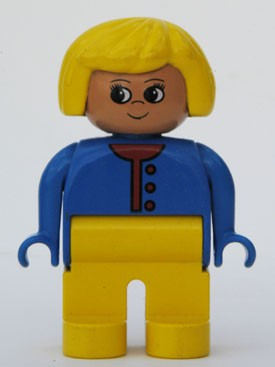 Duplo Figure, Female, Yellow Legs, Blue Sweater Unbuttoned with Red Buttons, Yellow Hair