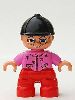 Duplo Figure Lego Ville, Child Girl, Red Legs, Dark Pink Top With Flowers, Black Riding Helmet, Glasses