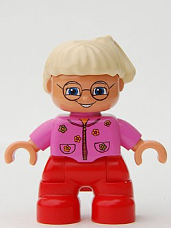 Duplo Figure Lego Ville, Child Girl, Red Legs, Dark Pink Top With Flowers, Light Blond Hair With Ponytail, Glasses