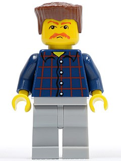 Plaid Button Shirt, Light Bluish Gray Legs, Bushy Moustache