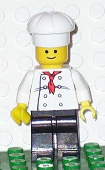 Chef - White Torso with 8 Buttons, Black Legs, Standard Grin
