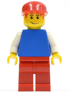 Plain Blue Torso with White Arms, Red Legs, Red Cap, Red Hair