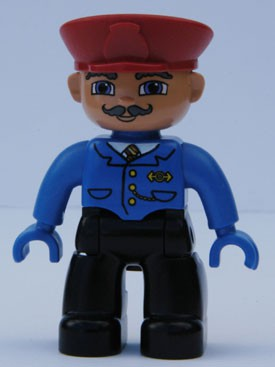 Duplo Figure Lego Ville, Male, Black Legs, Blue Jacket with Tie, Red Hat, Curly Moustache (Train Conductor)