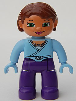 Duplo Figure Lego Ville, Female, Dark Purple Legs, Bright Light Blue Top and Hands, Reddish Brown Hair, Green Eyes
