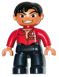 Duplo Figure Lego Ville, Male, Dark Blue Legs, Red Top with Open Collar, Black Messy Hair, VIP Badge