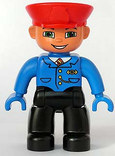 Duplo Figure Lego Ville, Male, Black Legs, Blue Jacket with Tie, Blue Hands, Red Hat, Smile with Teeth (Train Conductor)