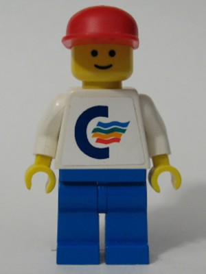 Color Line - White Torso (Sticker) with White Arms, Blue Legs, Red Cap