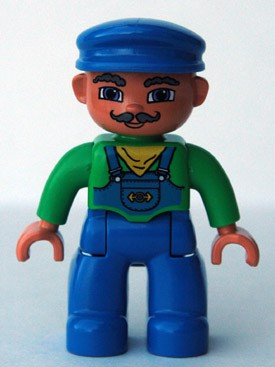 Duplo Figure Lego Ville, Male, Blue Legs, Green Top with Yellow Scarf, Blue Cap, Curly Moustache (Train Engineer)