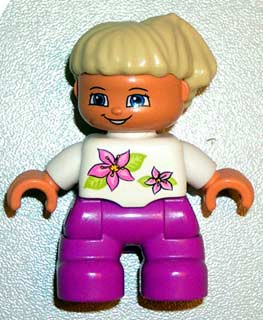 Duplo Figure Lego Ville, Child Girl, Magenta Legs, White Top with Two Flowers, White Arms, Tan Hair