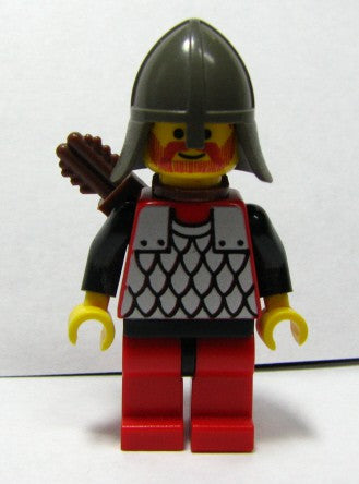 Scale Mail - Red with Black Arms, Red Legs with Black Hips, Dark Gray Neck-Protector, Quiver
