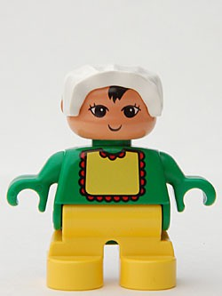 Duplo Figure, Child Type 2 Baby, Yellow Legs, Green Top with Yellow Bib with Red Lace, White Bonnet
