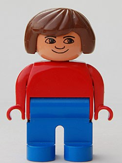 Duplo Figure, Female, Blue Legs, Red Top, Brown Hair, No Eyelashes, Plain Smile