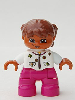 Duplo Figure Lego Ville, Child Girl, Magenta Legs, White Top with Flowers, Reddish Brown Hair with Braids