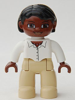 Duplo Figure Lego Ville, Female, Tan Legs, White Top with Buttons and Necklace, Black Hair, Brown Head
