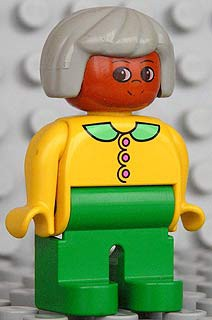 Duplo Figure, Female, Green Legs, Yellow Blouse with Collar, Gray Hair, Brown Head
