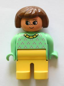 Duplo Figure, Female, Yellow Legs, Light Green Top with Purple Dots, Yellow Collar, Brown Hair