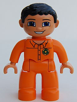 Duplo Figure Lego Ville, Male, Orange Legs, Flesh Hands, Orange Top with Recycle Logo, Black Hair, Blue Eyes