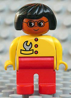 Duplo Figure, Female, Red Legs, Yellow Top with Red Buttons & Wrench in Pocket, Black Hair, Glasses, Brown Head